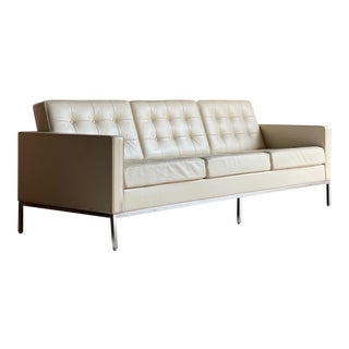 Florence Knoll Relax Leather Three Seat Sofa by Knoll Studio For Sale