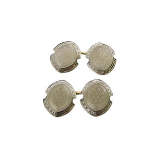 Edwardian 14k White Gold Engraved 2 Sided Cufflinks - a Pair For Sale