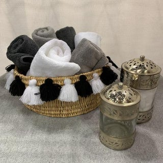 Moroccan Black and WhiteTassel Small Basket Preview