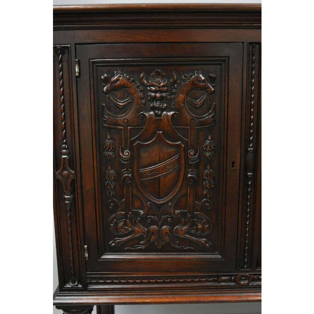 Traditional Antique Renaissance Revival Figural Carved Walnut Cabinet For Sale - Image 3 of 11