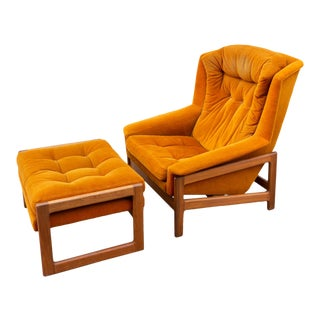 Mid-Century Folke Ohlsson for Dux Recliner and Ottoman For Sale