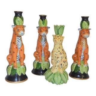 Vintage Palm Beach Regency Leopard Candle Holders - Set of 4 For Sale
