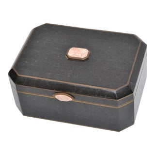 Maitland-Smith Tessellated Bone over Wood Box with Brass Inlay