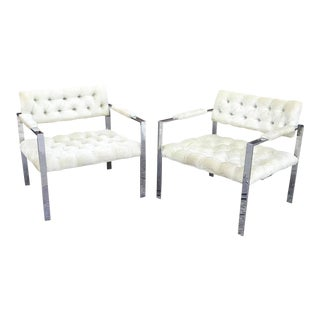 Milo Baughman for Thayer Coggin Chrome & Velvet Lounge Chairs - A Pair For Sale