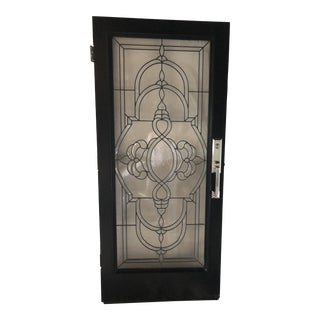 Vintage Leaded Glass Entry Door For Sale