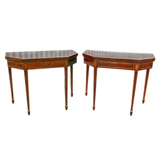 Matched Pair of George III Mahogany and Satinwood Games Tables For Sale