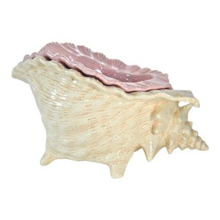 Ivory & Shell Pink Conch Planter For Sale