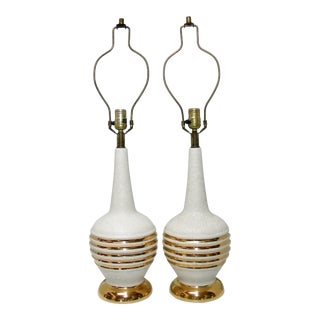 Mid-Century Gold Banded White Ceramic Table Lamps - a Pair For Sale