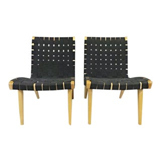 Jens Risom Knoll Mid Century Modern Birch & Black Parachute Strap Lounge Chairs - a Pair