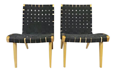 Jens Risom Knoll Mid Century Modern Birch U0026 Black Parachute Strap Lounge  Chairs   A Pair