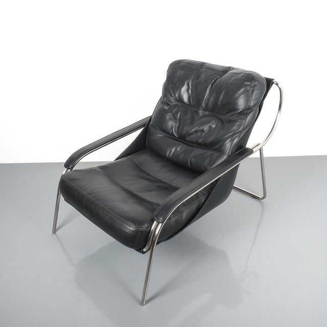 Marco Zanuso Maggiolina Sling Black Leather Chair by Zanotta, 1947 For Sale - Image 10 of 11