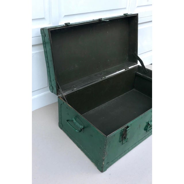 Vintage Metal Green Trunk - Image 3 of 6