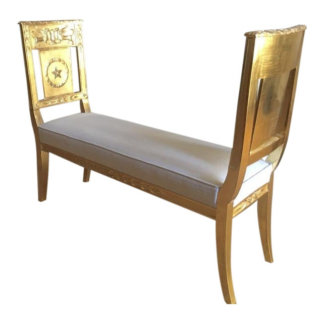 French Empire Very Long Gold Leaf Carved Wood Bench For Sale