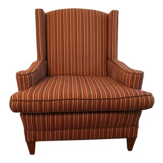 Red Striped Wingback Chair
