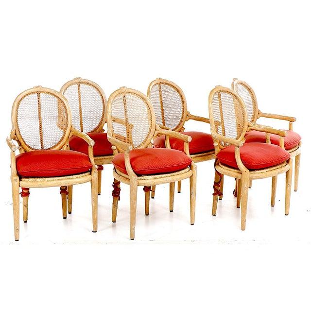 1970s Vintage Faux Bois Louis XVI Armchairs - Set of 6 For Sale - Image 6 of 12
