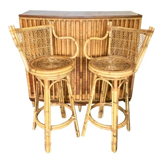 Midcentury Tropical Bar With 2 Stools For Sale