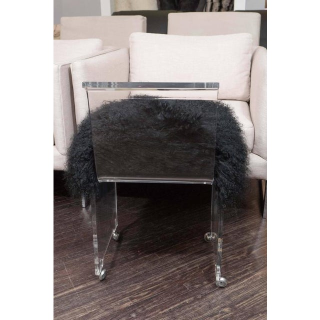 2010s Custom Acrylic Black Mongolian Side Chair For Sale - Image 5 of 6