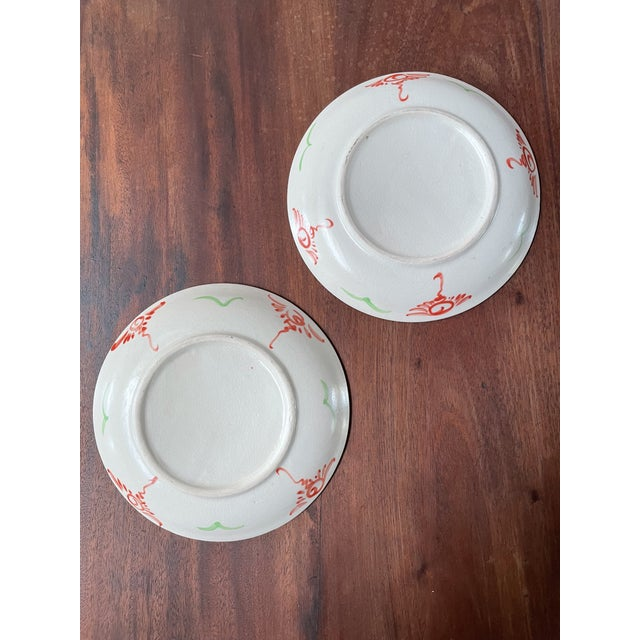 Vintage Red Flower Folk Art Plates- a Pair For Sale In Los Angeles - Image 6 of 8