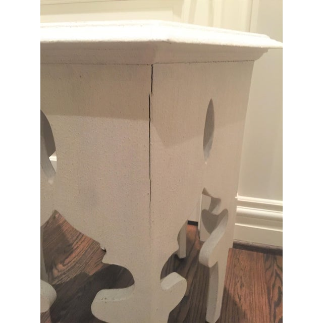 Moroccan Style White Wooden End Tables - a Pair - Image 7 of 10