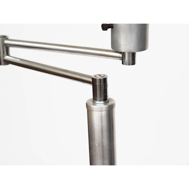 Metal Walter Von Nessen Style Brushed Aluminium Swing Arm Floor Lamp For Sale - Image 7 of 9