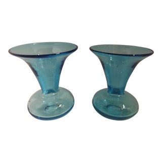 Turquoise Glass Flower Vases - A Pair For Sale