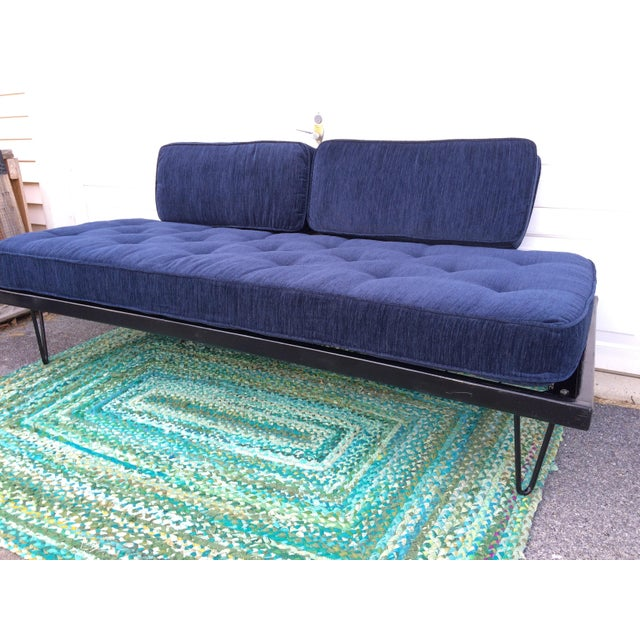 Fabric Restored Mid-Century Daybed in Indigo For Sale - Image 7 of 10