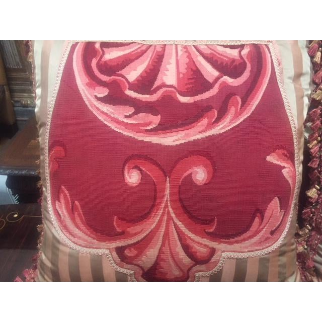 19th C. French Pink Aubusson Pillows For Sale In Los Angeles - Image 6 of 7
