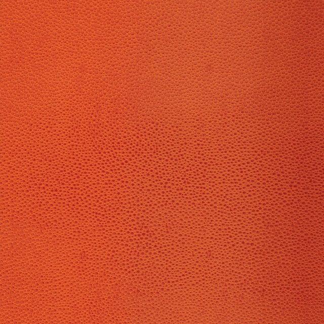 Schumacher Shagreen Wallpaper in Chinese Orange For Sale