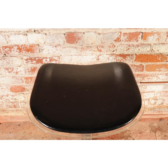 Mid-Century Lucite & Leather Bar Stools -- A Pair For Sale - Image 9 of 10