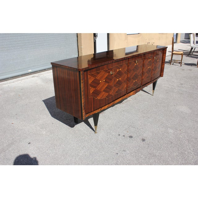 Art Deco 1940s Art Deco Exotic Macassar Ebony Mother-Of-Pearl Sideboard For Sale - Image 3 of 13