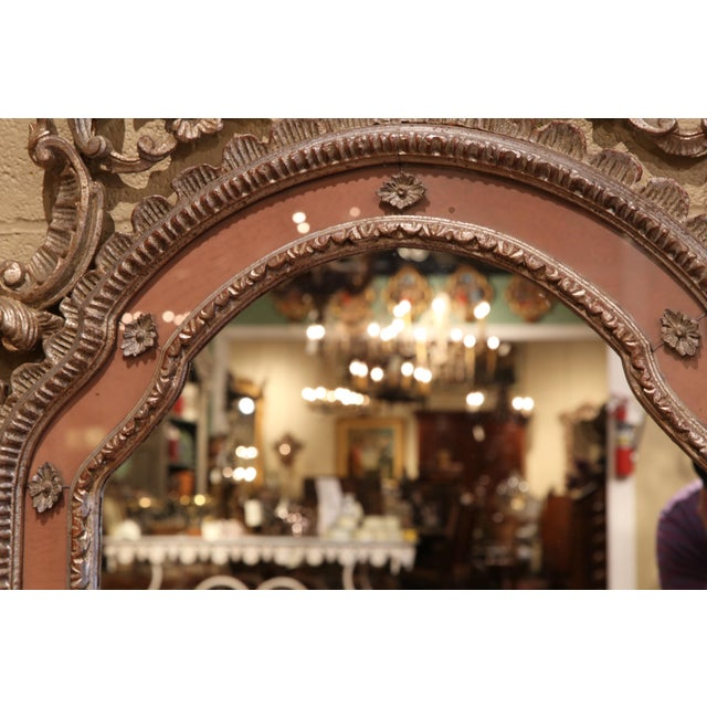 Mid-20th Century Italian Carved Silver Leaf Mirror With Painted Coral Trim For Sale - Image 4 of 8