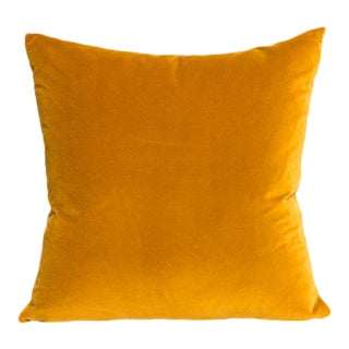 Contemporary Curry Gold Velvet Pillow - 22ʺW × 22ʺH For Sale
