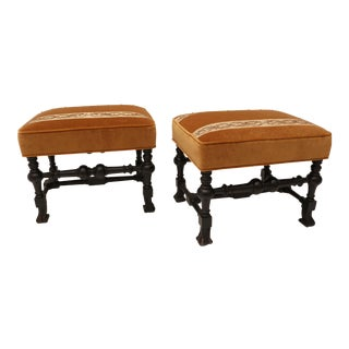 Pair of 19th Century Italian Stools, Rectangular with Gold Velvet and Embroidered Fabric