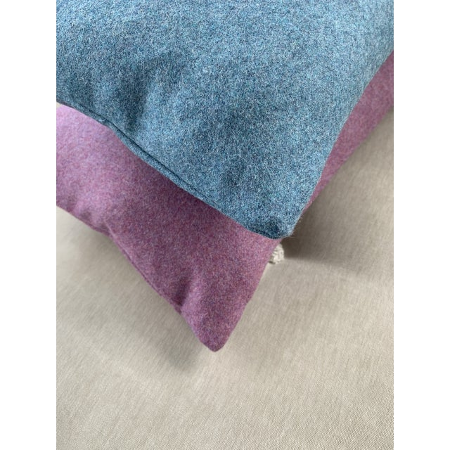 Contemporary FirmaMenta Italian Solid Aegean Blue Sustainable Wool Pillow For Sale - Image 3 of 4