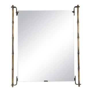 Jacques Adnet Leather and Brass Frame Mirror
