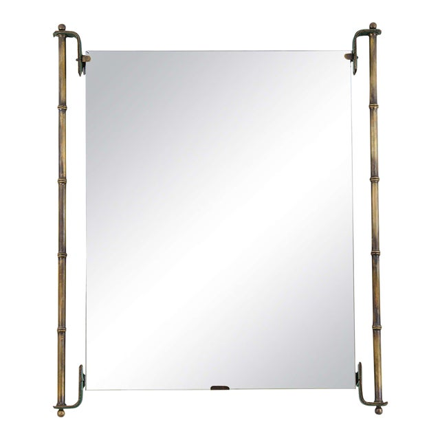 Jacques Adnet Leather and Brass Frame Mirror For Sale