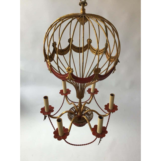 1970s 1970s Italian Gilt Iron Hot Air Balloon Chandelier For Sale - Image 5 of 11