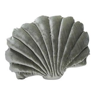 Large Shell Pillow - Sage Green Velvet