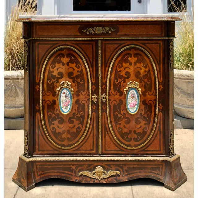 Antique 19c Dutch Marquetry Inlaid Marble Top Buffet Cabinet W German Porcelain Medallions For Sale In Los Angeles - Image 6 of 6