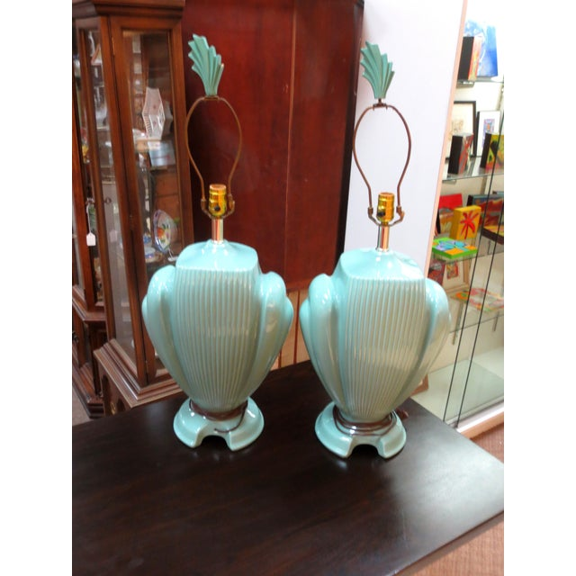 Hollywood Regency Mint Lamps - A Pair - Image 10 of 10
