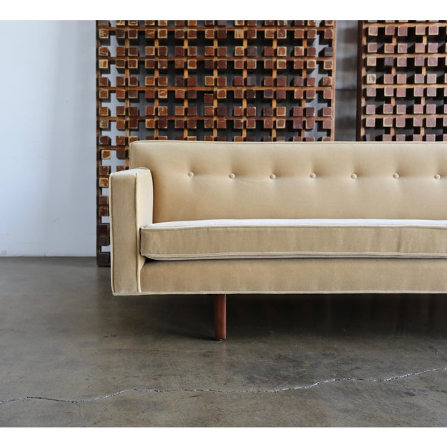 Edward Wormley bracket back sofa for Dunbar, circa 1955. This sofa has been beautifully upholstered in Maharam Mohair.