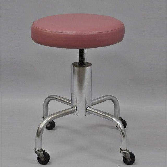 Vintage Chrome Pink Vinyl Adjustable Work Stool For Sale - Image 9 of 9