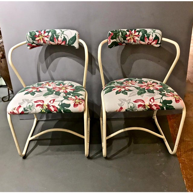 Metal Pair 1940's Painted Steel and Bark Cloth Side Chairs For Sale - Image 7 of 7