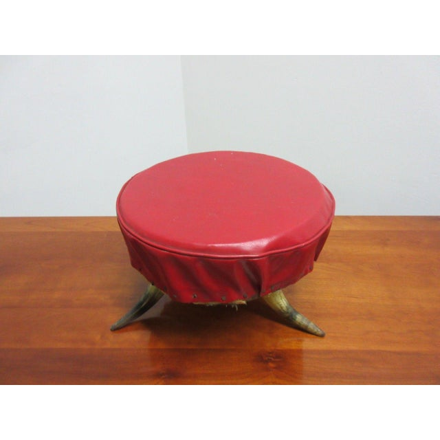 Antique Steer Cow Horn Footstool - Image 5 of 9