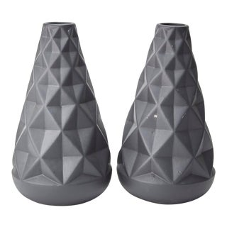 Textured Ceramic Vases - a Pair For Sale