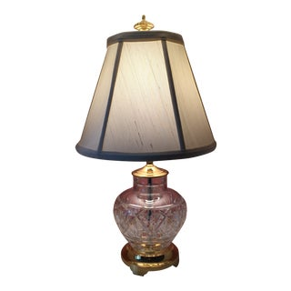 Waterford-Crystal Accent Lamp on Brass Base For Sale