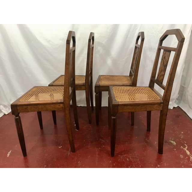 Art Deco French Oak and Cane Art Deco Dining Chairs For Sale - Image 3 of 9