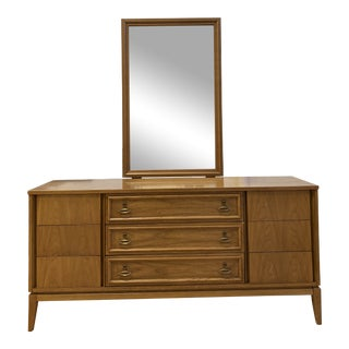 Mid 20th Century Dixie Dresser + Mirror For Sale