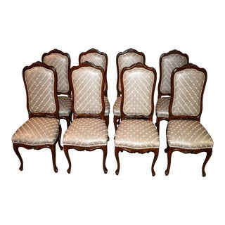Transitional Walnut Dining Chairs W/Leather Type Patterned Fabric - Set of 8 For Sale