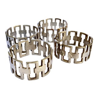 Brutalist Silver Plate Napkin Rings - Set of 4 For Sale